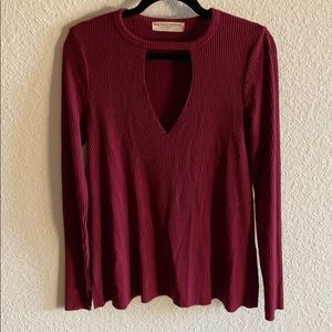 Project Social T Long Sleeve Cutout v-neck Sweater